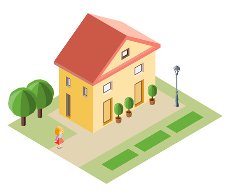 House, girl and trees in the isometric projection. Vector illustration.