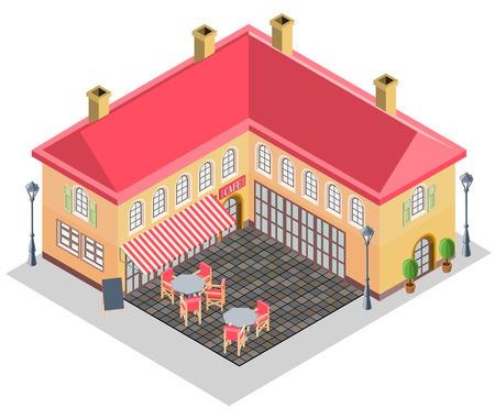 Haus  Und Straßencafé In Der Isometrischen Projektion. Vektor Illustration.
