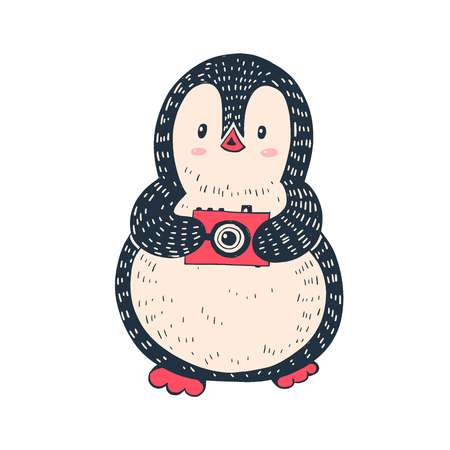 Illustration of a cute penguin with a  red camera.  Hand-drawn illustration. Vector. Vectores