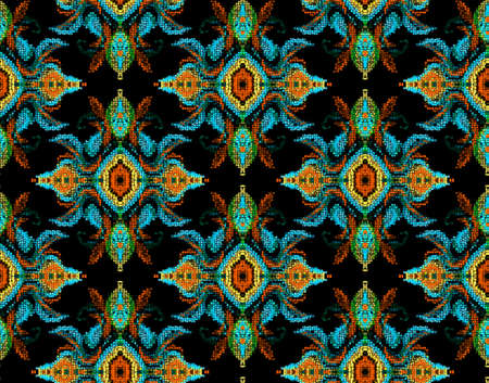 Seamless patterns with bright geometric mosaic drawing . Hand-drawn illustration.