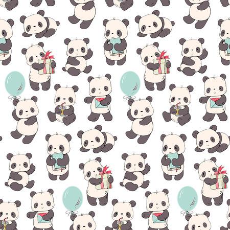 Modèle sans couture avec des pandas de dessin animé. Illustration dessinée à la main.