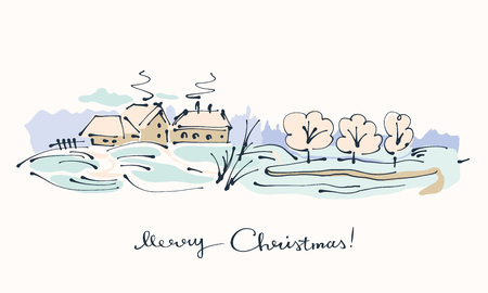 Christmas card with  little village winter landscape.
