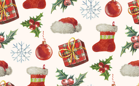 Seamless Christmas pattern in doodle style. Watercolor. Hand-drawn illustration. Stock Photo