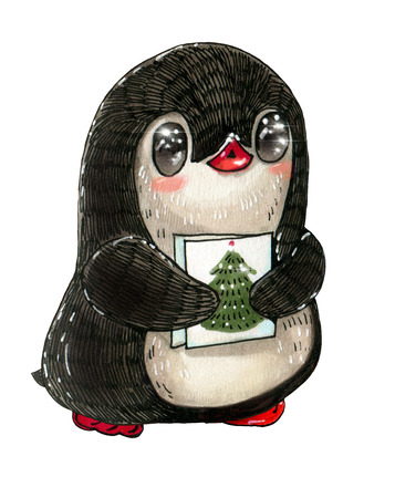 Winter illustration with funny cartoon penguin with the Christmas card. Drawing with markers Stock Photo