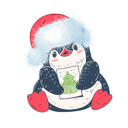 Winter illustration with funny cartoon penguin in Christmas hat. Vector. Illustration