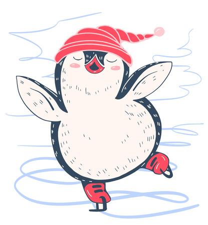antarctica: Winter illustration with funny cartoon penguin on the skates. Vector.