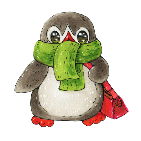 Winter illustration with funny cartoon penguin  in a warm scarf isolated on a white background.  Drawing with markers Stock Photo