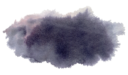 wet paint: Grey Watercolor spot, isolated on a white background.   Hand-drawn illustration.