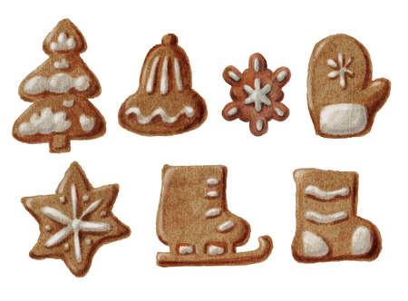 Christmas gingerbread isolated on white background. Hand-drawn illustration.