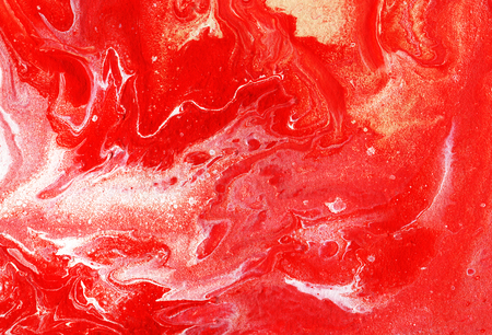 Acrylic pouring. Red and white abstract background. Hand-drawn illustration. Stock Photo