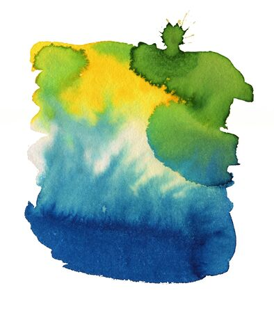 Blue, yellow and green Watercolor spot, isolated on a white background.