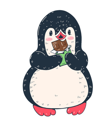 Winter illustration. Funny cartoon penguin with chocolate. Vector.