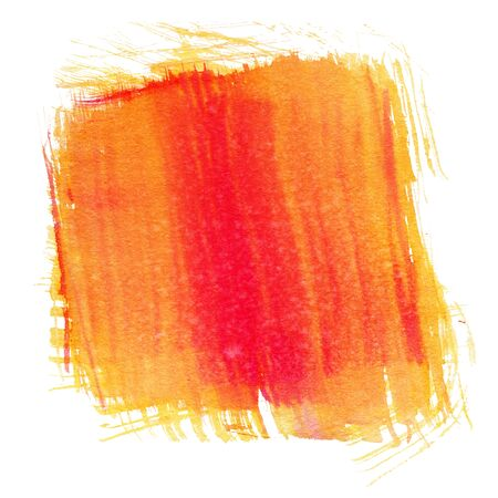 Orange and red watercolor, isolated on white background. Stock Photo