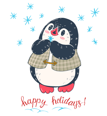 Winter illustration with funny cartoon penguin with snowflake Vector.
