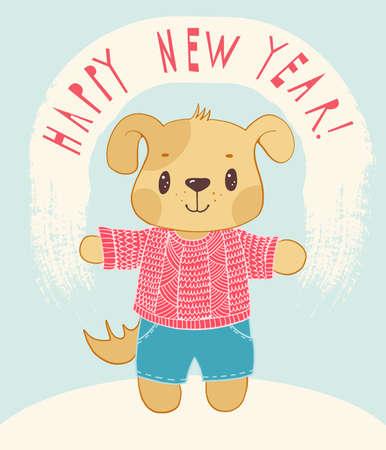 New Years card with cartoon doggie. Vector illustration. Illustration