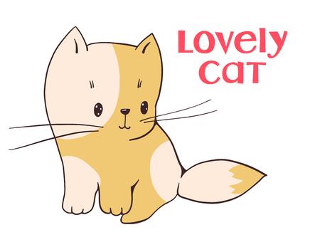 Illustration of funny cartoon kitten. Hand-drawn illustration.  Vector set.
