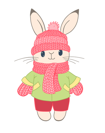 Hand-drawn illustration of funny cartoon Bunny in warm winter clothes. Vector