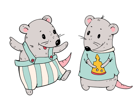 Illustration of funny cartoon mice with cheese hand-drawn illustration vector.