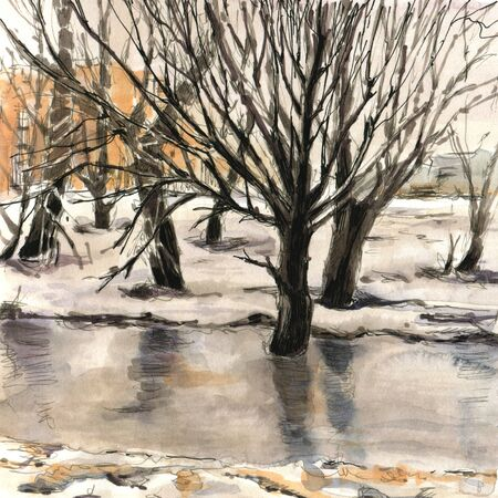 Winter landscape with trees in the city park.  Sketch ink and watercolor. Hand-drawn illustration.