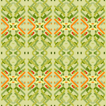 Seamless pattern with geometric embroidery. Vector illustration.