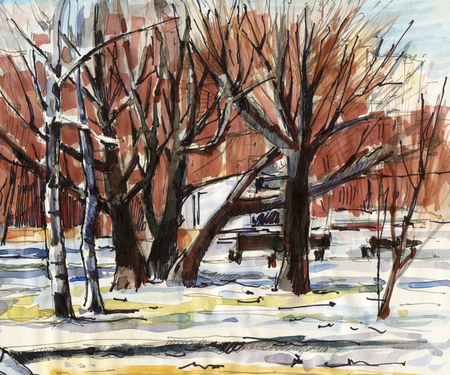 Winter landscape with trees in the city park.  Sketch ink and markers. Hand-drawn illustration.