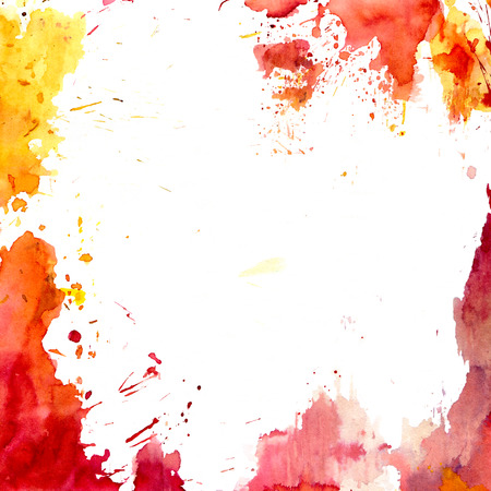 Orange and yellow watercolor background with space for text. Hand-drawn illustration. Stock Photo