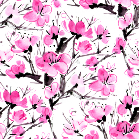 Watercolor seamless pattern with the blossoming plum.  Hand-drawn illustration.