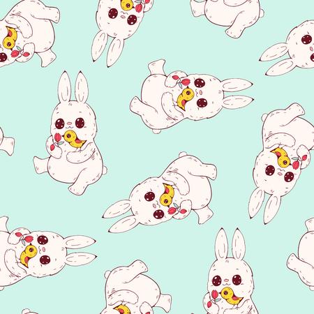 Seamless pattern with funny cartoon Bunnies. Hand-drawn illustration. Vector. Illustration
