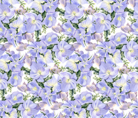 Seamless pattern with watercolor flowers. Lilac hydrangeas. Hand-drawn illustration.