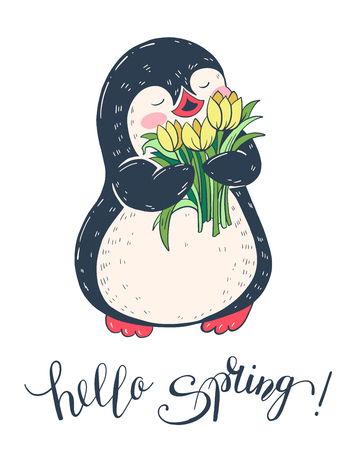 Spring illustration with Funny cartoon and flowers