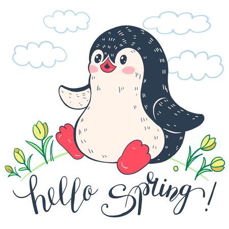 Spring  illustration. Funny cartoon penguin with flowers. Vector. Illustration