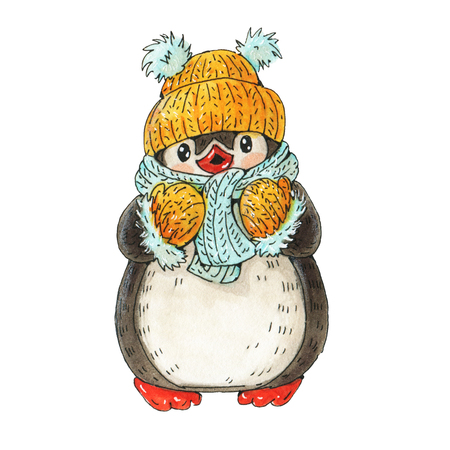 Winter illustration with funny cartoon penguin.  Drawing with markers isolated on a white background. Stockfoto
