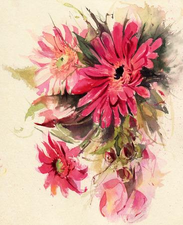 Watercolor flowers. Red Gerberas. Hand-drawn illustration.