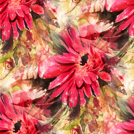 Seamless pattern with watercolor flowers. Red Gerberas. Hand-drawn illustration.
