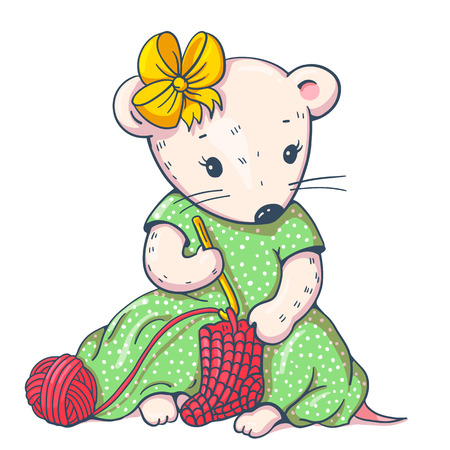 Illustration of funny cartoon mousy with knitting. Hand-drawn illustration. Vector. Illustration