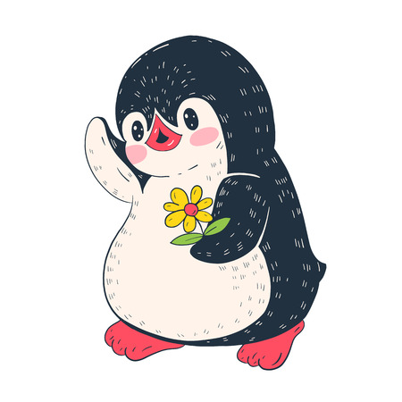 Illustration with funny cartoon penguin with a flower. Vector illustration.