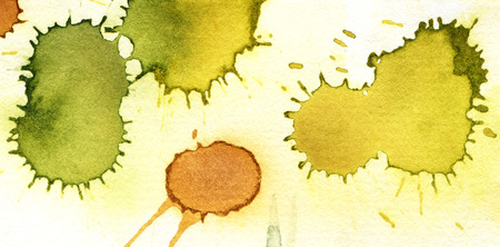 Green and yellow watercolor background. Hand-drawn illustration. Stock Photo