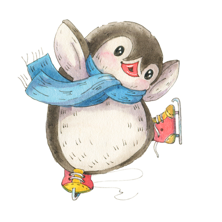 Winter illustration with funny cartoon penguin on skates isolated on a white background. Drawing in watercolor and ink.