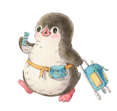 Illustration with funny cartoon penguin traveler with suitcase and ticket, isolated on a white background. Drawing in watercolor and ink. Stock Photo