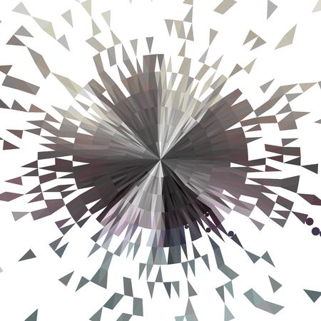 Sfondo astratto grigio e bianco. Cerchio esploso costituito da poligoni. Illustrazione vettoriale.