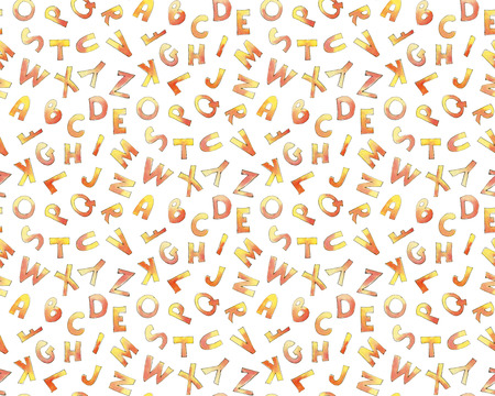 Seamless pattern with letters of the English alphabet in a naive style.  Drawing in watercolor and ink. Stock Photo