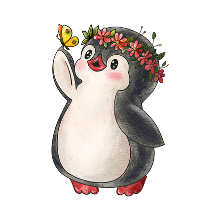 Illustration with funny cartoon penguin with a butterfly  isolated on a white background. Drawing in watercolor and ink.