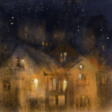 City landscape, Night in a  town. Picturesque image.  Hand-drawn illustration. Фото со стока