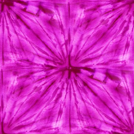 Seamless tie-dye pattern of purple color on white silk. Hand painting fabrics - nodular batik. Shibori dyeing.