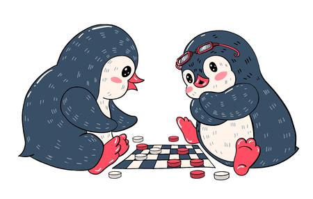 Deux pingouins de bande dessinée jouent et les dames. Illustration vectorielle. Vecteurs