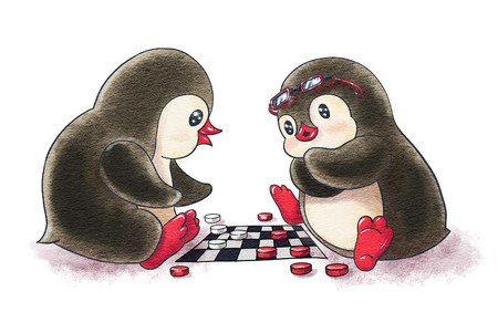 Two cartoon penguins are playing and checkers.  Watercolor and ink drawing 스톡 콘텐츠