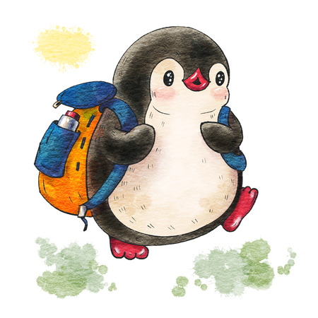 Illustration with funny cartoon penguin with backpack  isolated on a white background. Drawing in watercolor and ink.