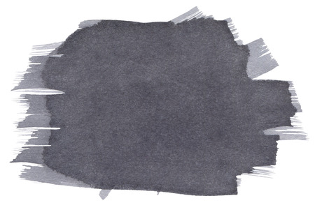 Gray Watercolor spot, isolated on a white background.  Hand-drawn illustration.