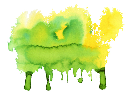 Green and yellow Watercolor spot, isolated on a white background.