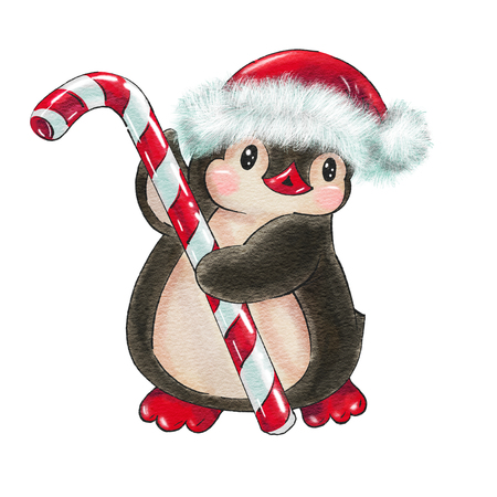 Winter illustration with funny cartoon penguin with  candy cane and a Christmas hat,   isolated on a white background. Drawing in watercolor and ink.